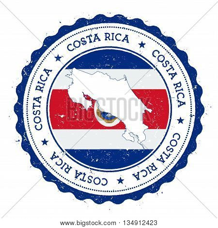 Costa Rica Map And Flag In Vintage Rubber Stamp Of State Colours. Grungy Travel Stamp With Map And F