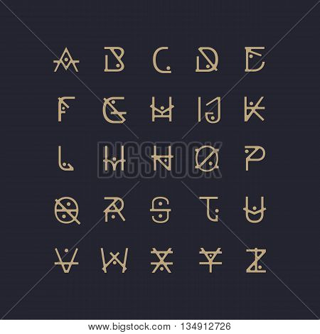 Vector Abstract Font. Alphabet Letters. Abstract Calligraphy