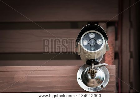 Closed circuit camera video on brow wooden
