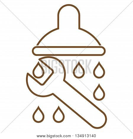 Shower Plumbing glyph icon. Style is linear flat icon symbol, brown color, white background.