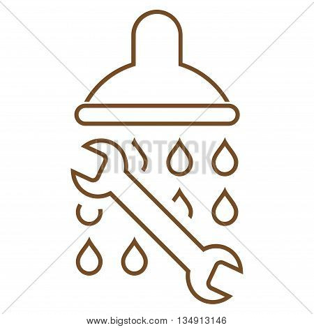 Shower Plumbing glyph icon. Style is contour flat icon symbol, brown color, white background.