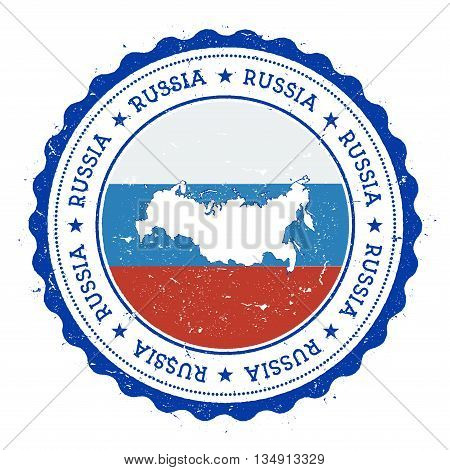 Russian Federation Map And Flag In Vintage Rubber Stamp Of State Colours. Grungy Travel Stamp With M