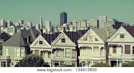 San Francisco city skyline with urban architectures viewed from Alamo Square.