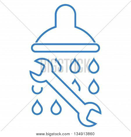 Shower Plumbing glyph icon. Style is linear flat icon symbol, cobalt color, white background.
