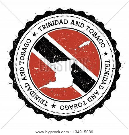Trinidad And Tobago Map And Flag In Vintage Rubber Stamp Of State Colours. Grungy Travel Stamp With