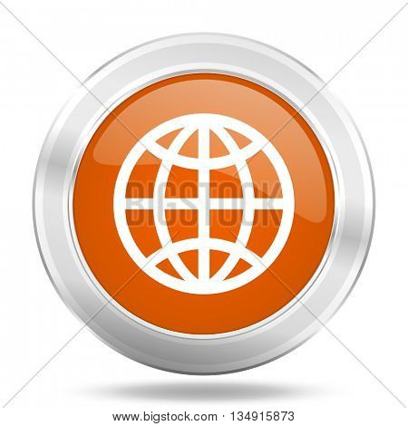earth vector icon, orange circle metallic chrome internet button, web and mobile app illustration