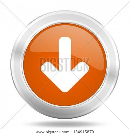 download arrow vector icon, orange circle metallic chrome internet button, web and mobile app illustration
