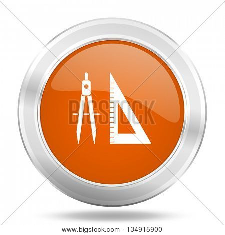 learning vector icon, orange circle metallic chrome internet button, web and mobile app illustration