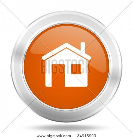 house vector icon, orange circle metallic chrome internet button, web and mobile app illustration