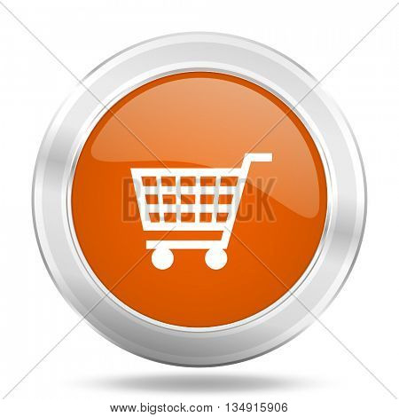 cart vector icon, orange circle metallic chrome internet button, web and mobile app illustration