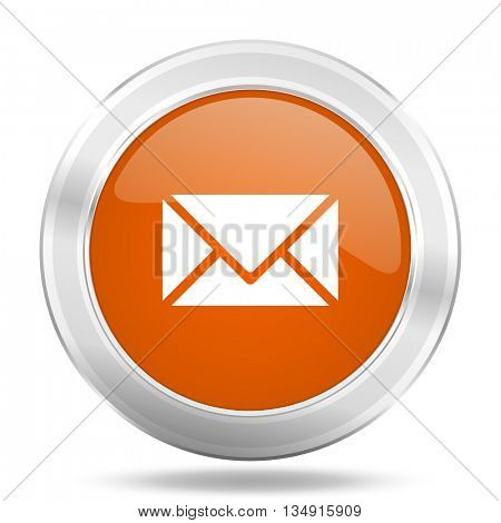 email vector icon, orange circle metallic chrome internet button, web and mobile app illustration