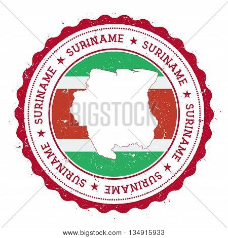 Suriname Map And Flag In Vintage Rubber Stamp Of State Colours. Grungy Travel Stamp With Map And Fla