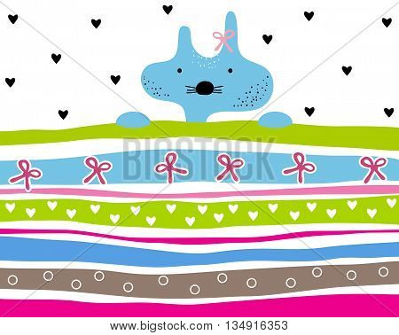 Cute kitty girl striped background with hearts and ribbons. Animal striped background. Kitty wallpaper for girls