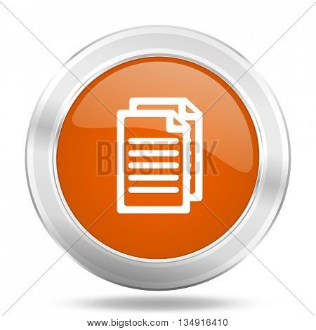 document vector icon, orange circle metallic chrome internet button, web and mobile app illustration
