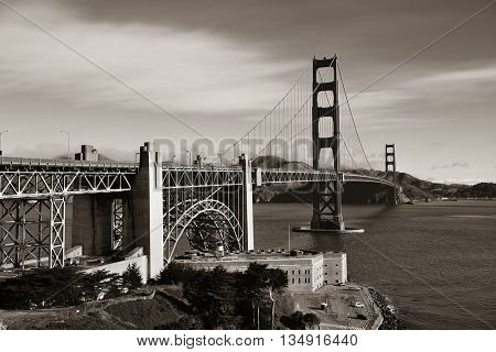 Golden Gate Bridge in San Francisco with flower in black and white.