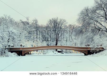 Bow Bridge in Central Park winter in midtown Manhattan New York City
