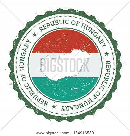 Hungary Map And Flag In Vintage Rubber Stamp Of State Colours. Grungy Travel Stamp With Map And Flag