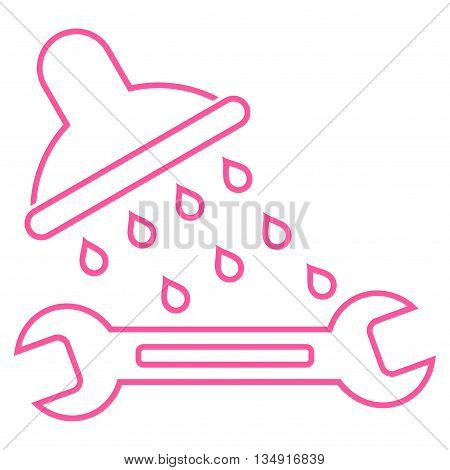 Shower Plumbing glyph icon. Style is contour flat icon symbol, pink color, white background.