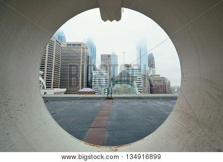 Philadelphia city architectures through window