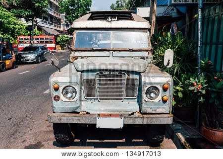 BANGKOK THAILAND - APRIL 24: Land Rover Series III Pickup parked on the street of Bangkok on April 24 2016 in Bangkok Thailand.