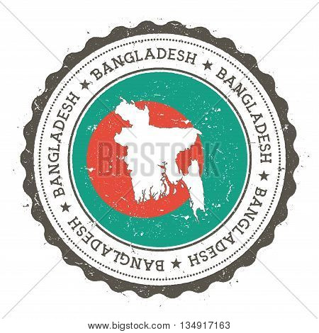Bangladesh Map And Flag In Vintage Rubber Stamp Of State Colours. Grungy Travel Stamp With Map And F