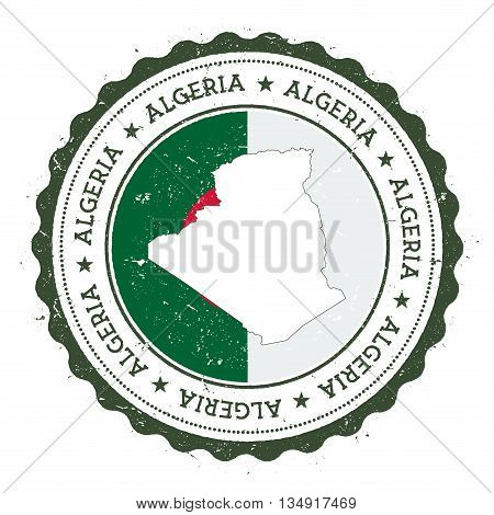 Algeria Map And Flag In Vintage Rubber Stamp Of State Colours. Grungy Travel Stamp With Map And Flag