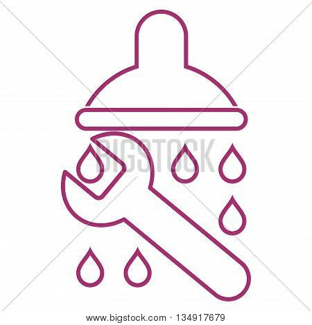Shower Plumbing glyph icon. Style is contour flat icon symbol, purple color, white background.