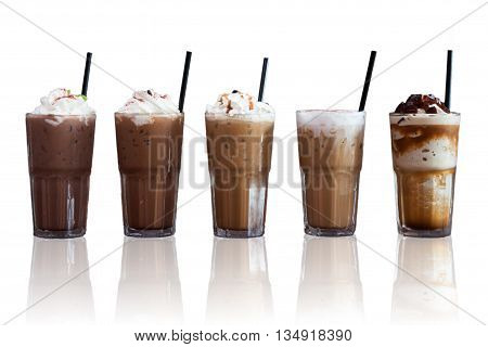 Five different kind of iced coffee with reflect on white background, stock photo