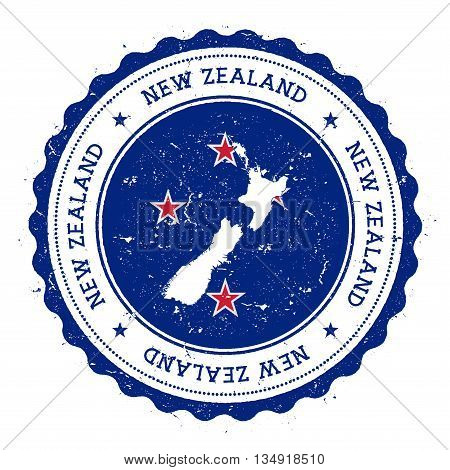 New Zealand Map And Flag In Vintage Rubber Stamp Of State Colours. Grungy Travel Stamp With Map And