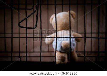 teddy bear abandoned in jail vintage tone
