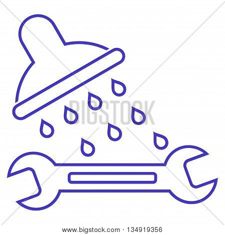 Shower Plumbing glyph icon. Style is contour flat icon symbol, violet color, white background.