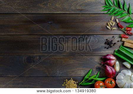 Sri Lankan spices banner wooden background for place text frame top view