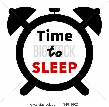 Minimalistic illustration of a clock with time for sleep text. Isolated on white background. Clock clipart with Time to sleep lettering