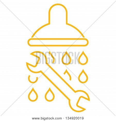 Shower Plumbing glyph icon. Style is stroke flat icon symbol, yellow color, white background.