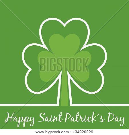 Saint Patrick's day minimal card with shamrock.
