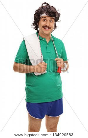 Vertical shot of a retro man in sportswear with a skipping rope around his neck isolated on white background