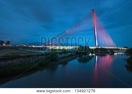 DA NANG, VIETNAM, April 24, 2016 cable-stayed bridge, named Tran Thi Ly Bridge, spanning the Han River, Da Nang city, at night