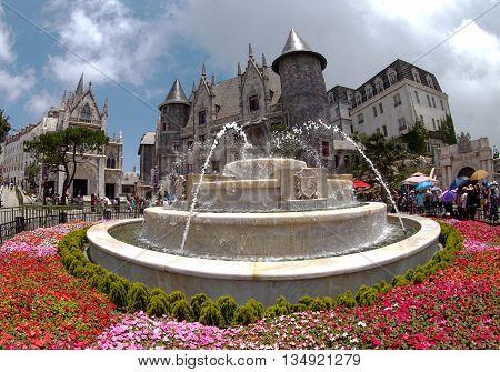 DA NANG, VIETNAM, May 24, 2016 fountain, downtown, Da Nang, central, Vietnam. famous resort