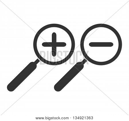 Zoom in and zoom out symbol. Magnifying glass. Plus. Magnifier. Hand glass icon. Minus. Isolated. White background