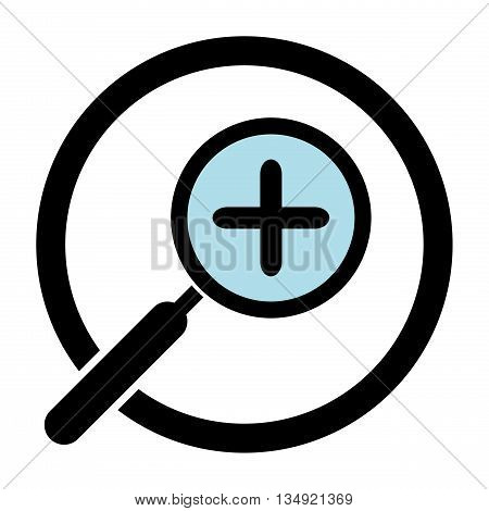 Zoom in icon. Magnifying glass in a circle. Plus. Isolated. White background. For web use print etc.