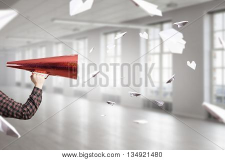 Man shouting in pape cone . 3D render