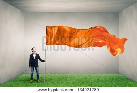 Guy with waving flag