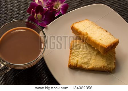 Top view of Butter Cake & Milo