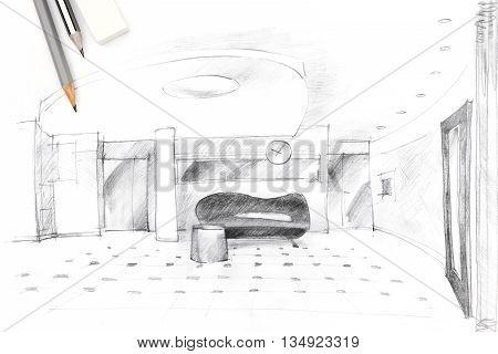 Interior Sketch Of A Hall With Drawing Tools