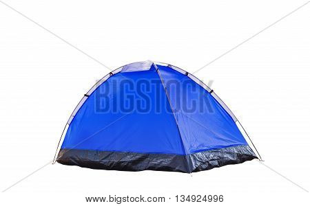Isolated Blue Dome Tent On White