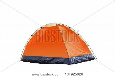 Isolated Orange Dome Tent On White