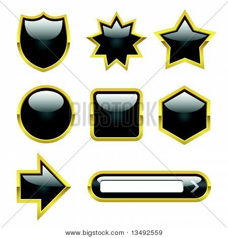 Vector Glossy Buttons with Gold borders
