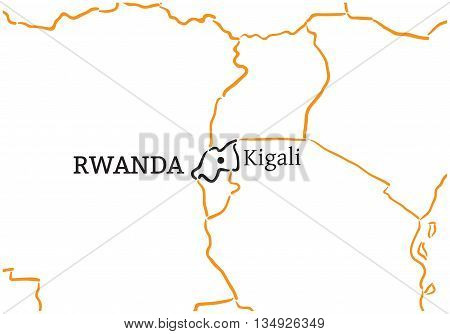 Rwanda country with its capital Kigali in Africa hand-drawn sketch map isolated on white