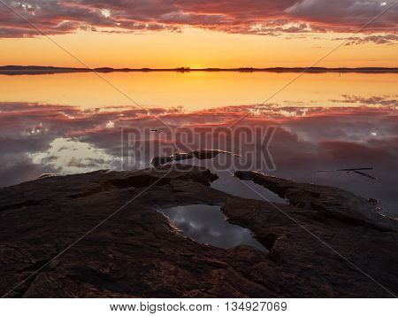 Crimson Sunset  At Lake