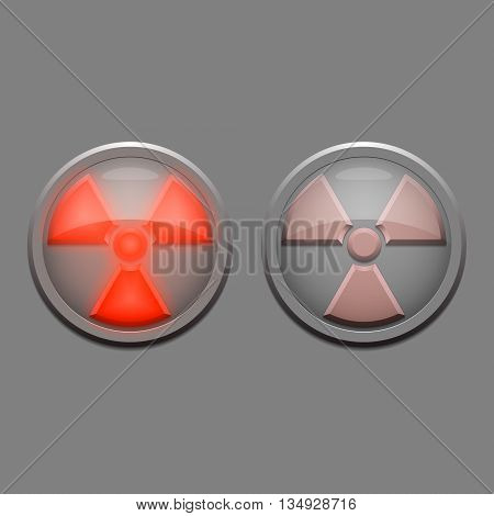 Two vector danger lights - radioactive danger